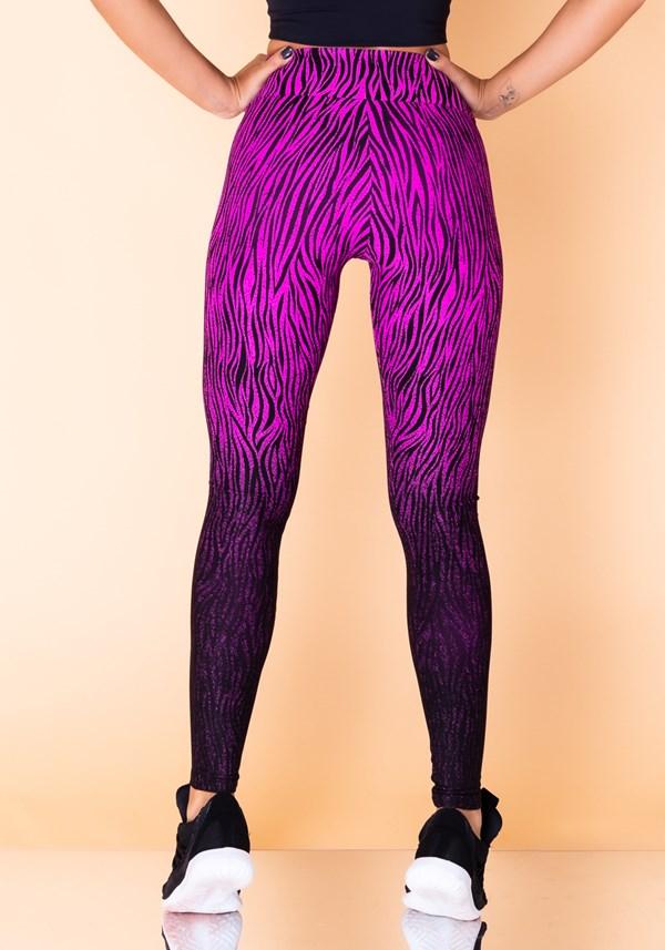 Calça legging jacquard zebra rosa reverse