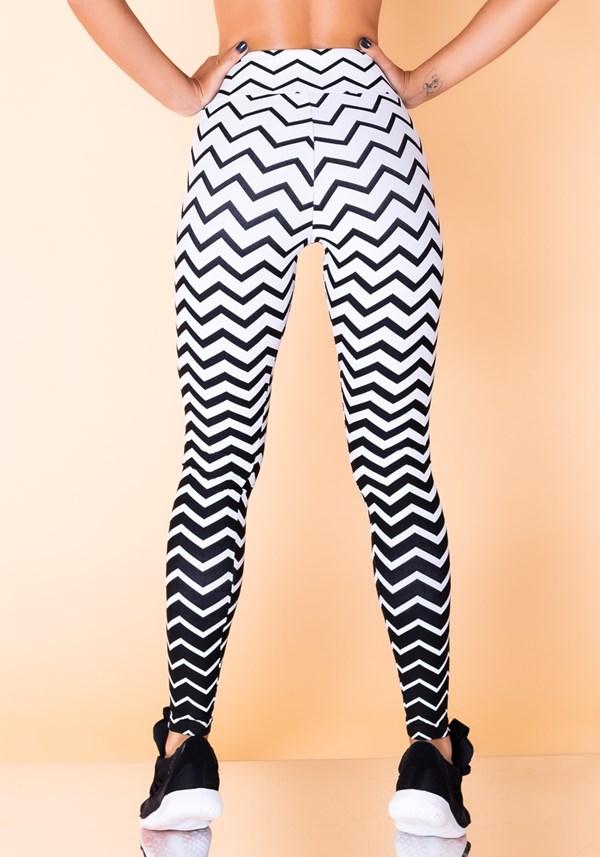 Calça legging jacquard zig zag branca reverse