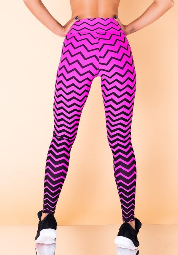 Calça legging jacquard zig zag rosa reverse