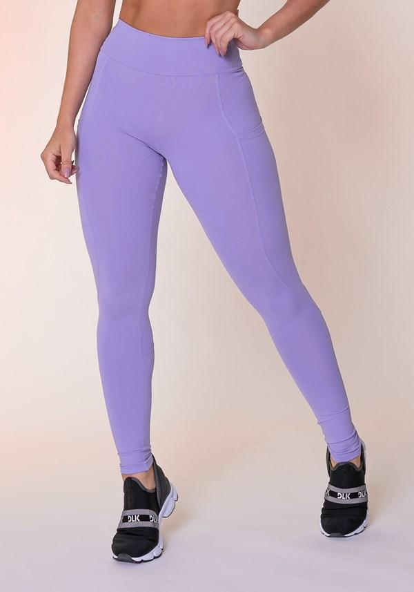 Calça legging lilás com bolso básica