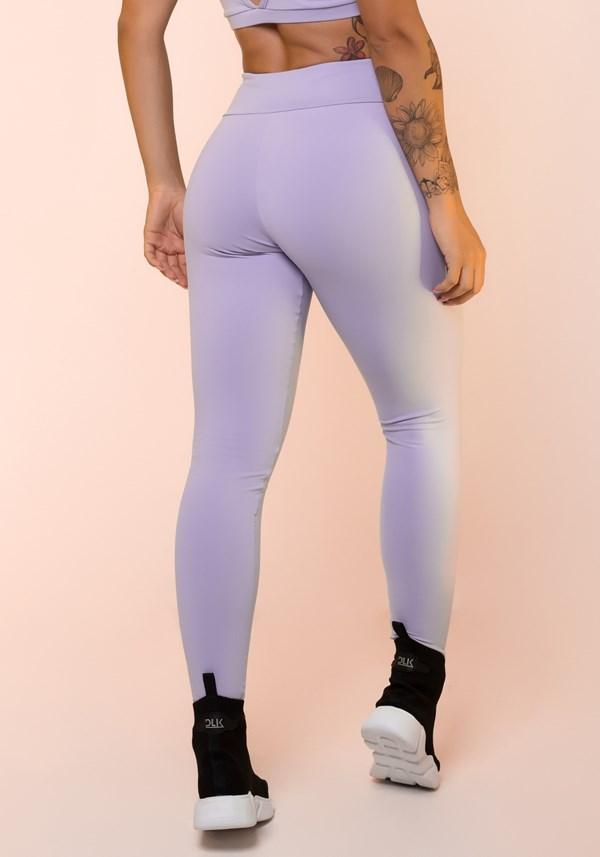 Calça legging lilás com cadarço básica