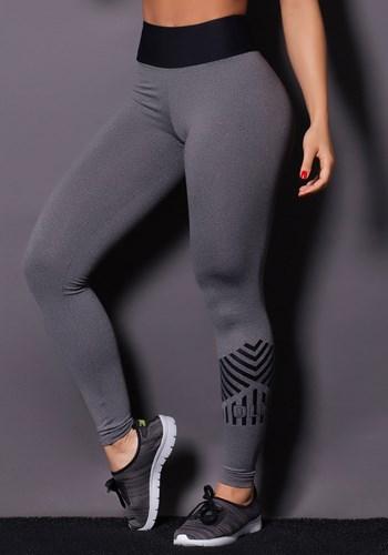 Calça legging line mescla com preto
