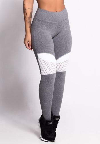 Calça legging mescla com dryfit branco