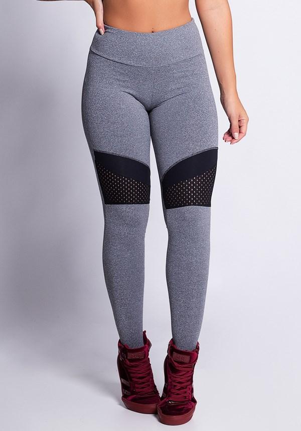 Calça legging mescla com dryfit preto