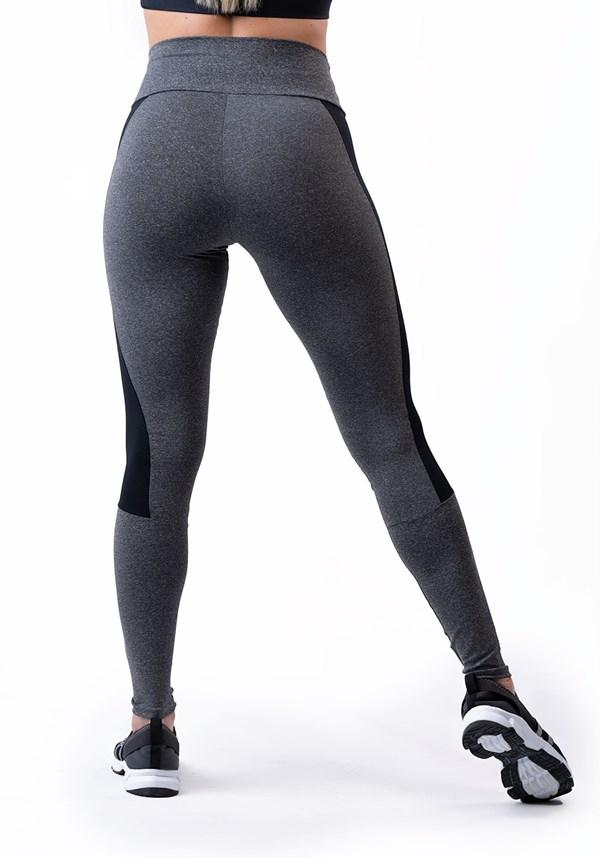 Calça legging mescla com suplex preto