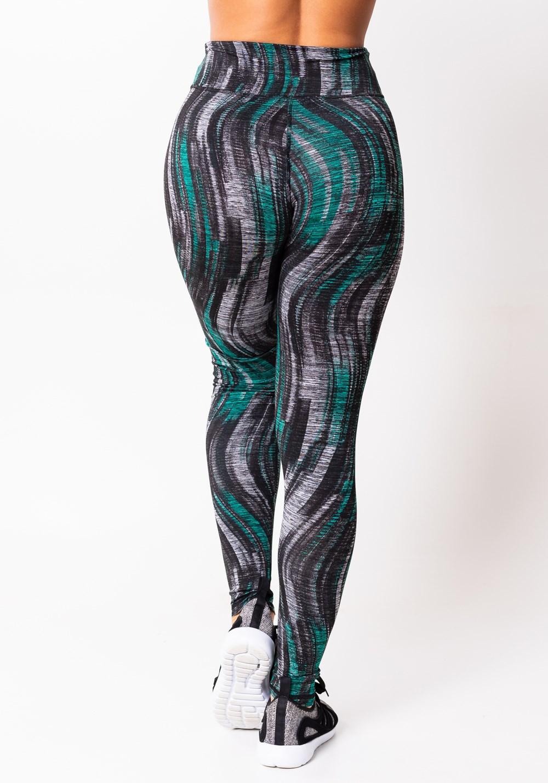 Calça legging mescla detalhes verde