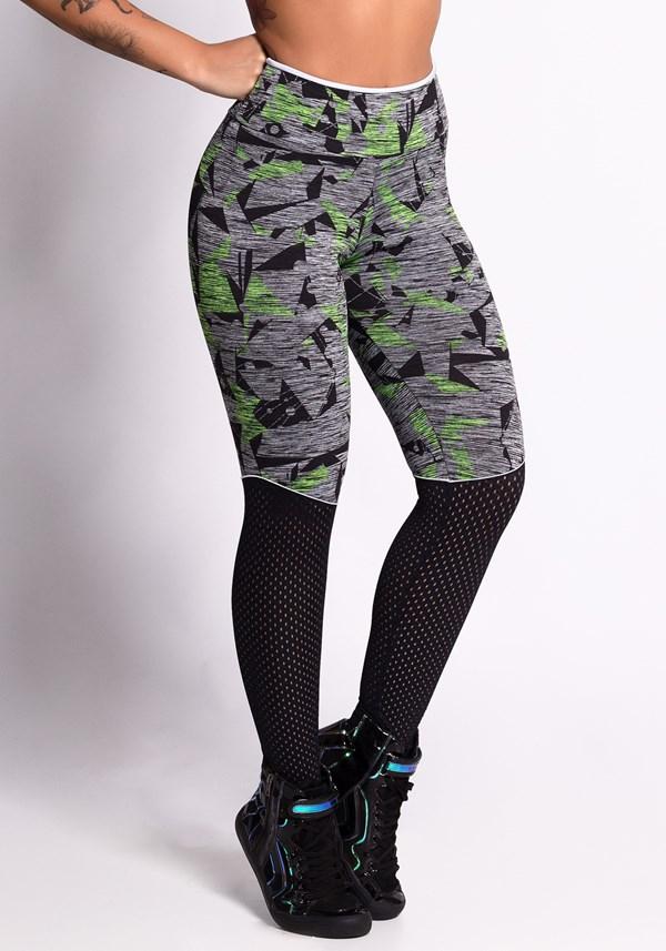 Calça legging mescla estampada com dryfit preto