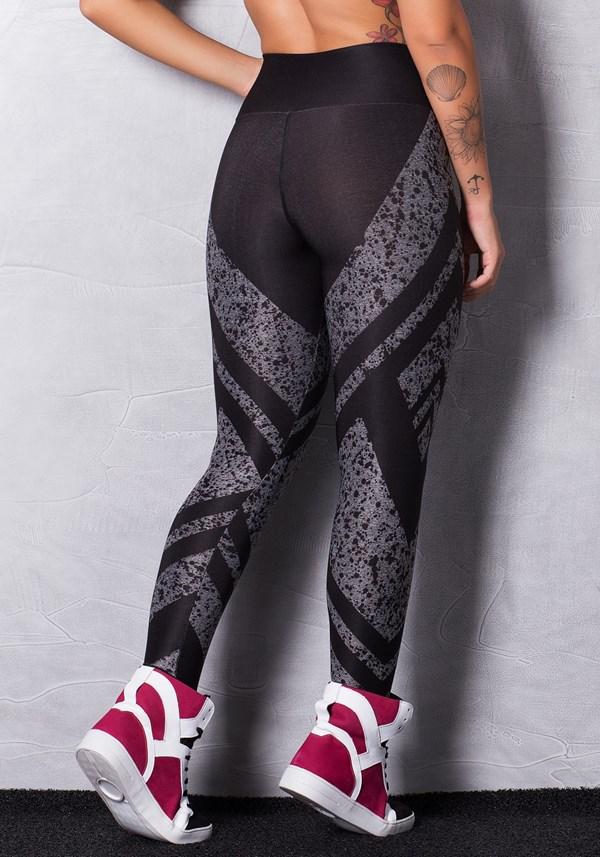 Calça legging mescla printed black dlk