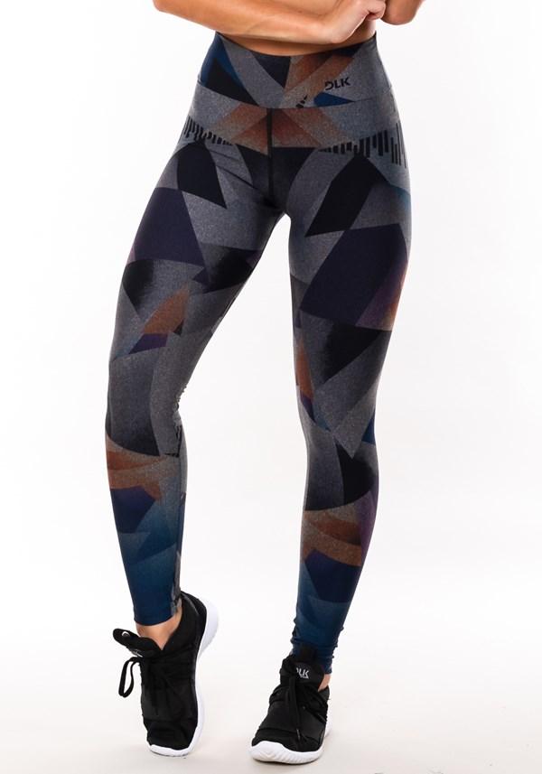 Calça legging mescla sublimada geométrica colorida