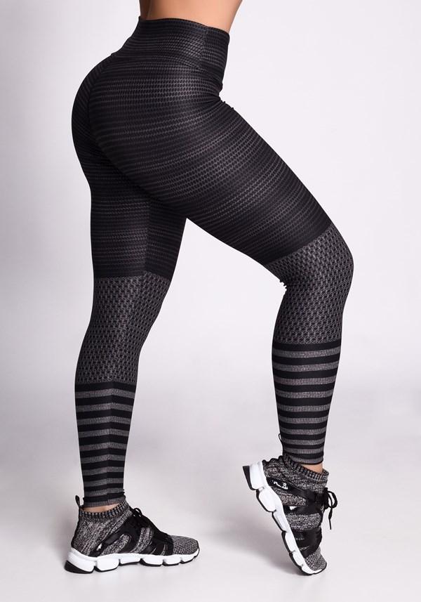 Calça legging mescla sublimada linhas pretas