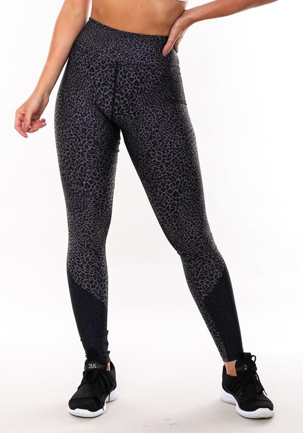 Calça legging mescla sublimada onça preta