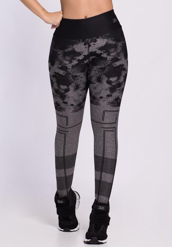 Calça legging mescla sublimada tie dye preto