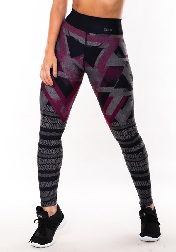 Calça legging mescla sublimada triângulos rosa