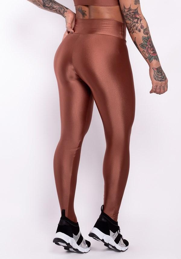 Calça legging metal bronze