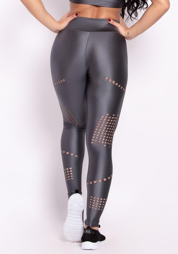 Calça legging metal grafite com cortes a laser