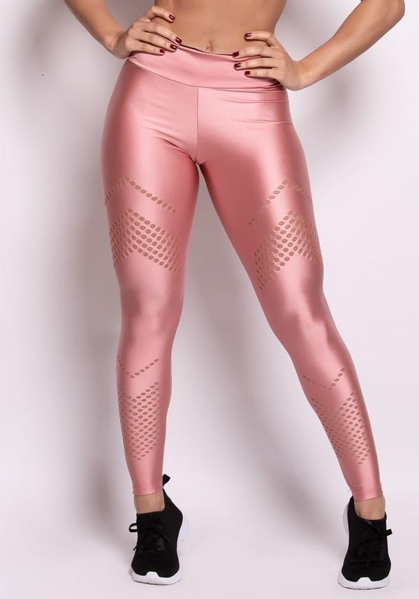 Calça legging metal rosê com cortes a laser
