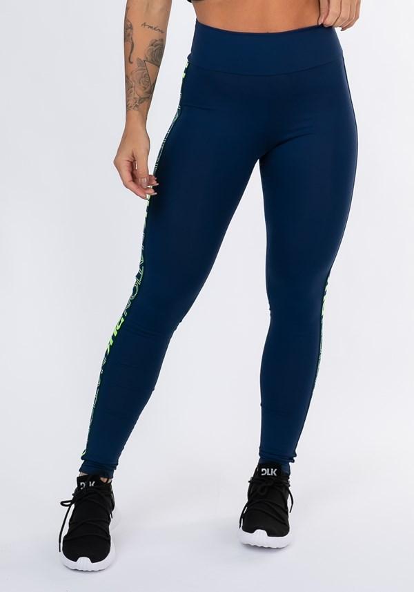 Calça legging nation com elástico lateral azul marinho
