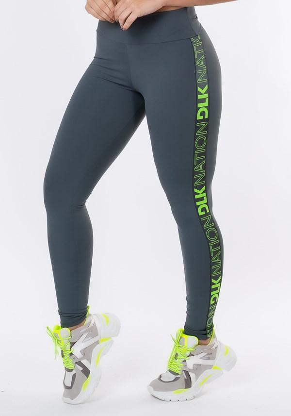 Calça legging nation com elástico lateral grafite