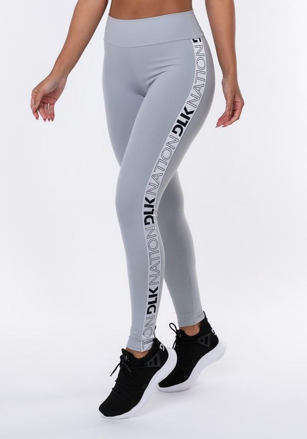 Calça legging nation com elástico lateral prata
