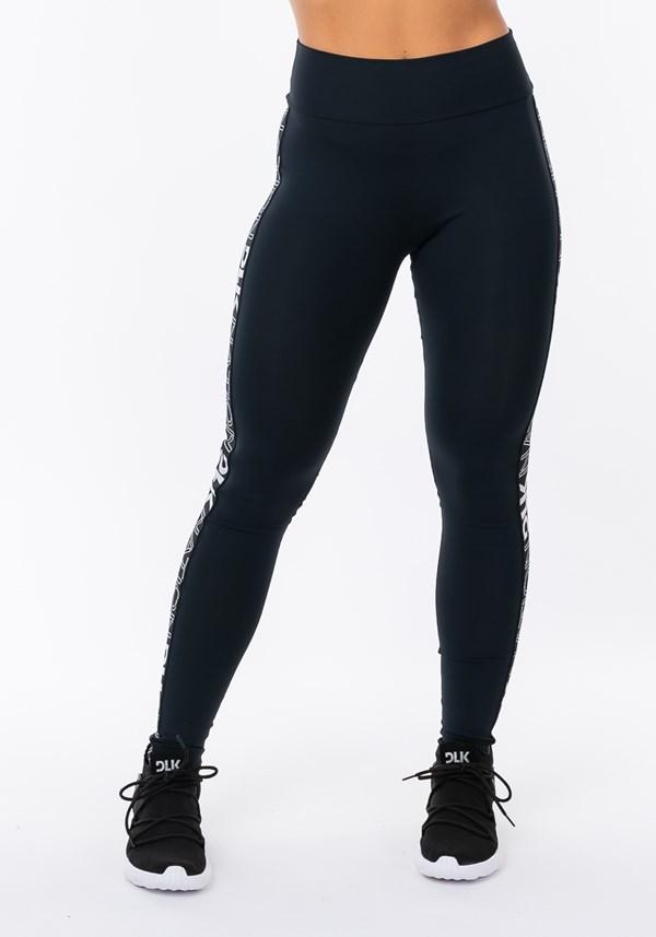 Calça legging nation com elástico lateral preto e prata
