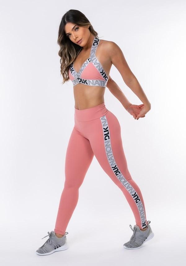 Calça legging nation com elástico lateral rosa