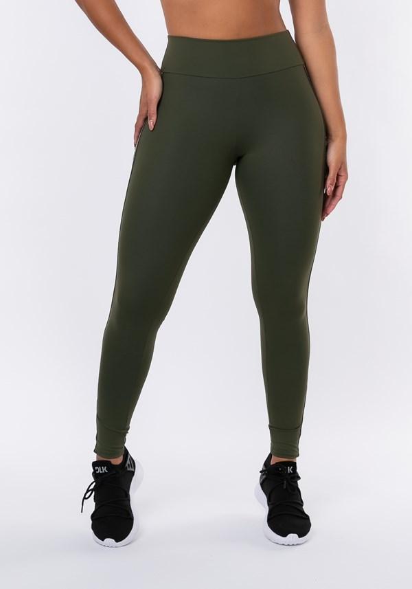 Calça legging nation com elástico lateral verde militar