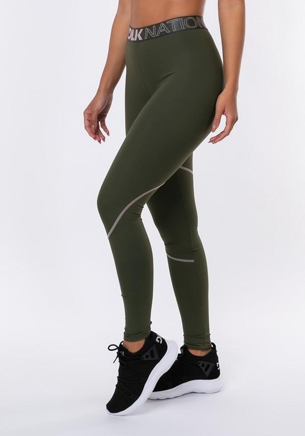 Calça legging nation elástico personalizado dlk verde militar
