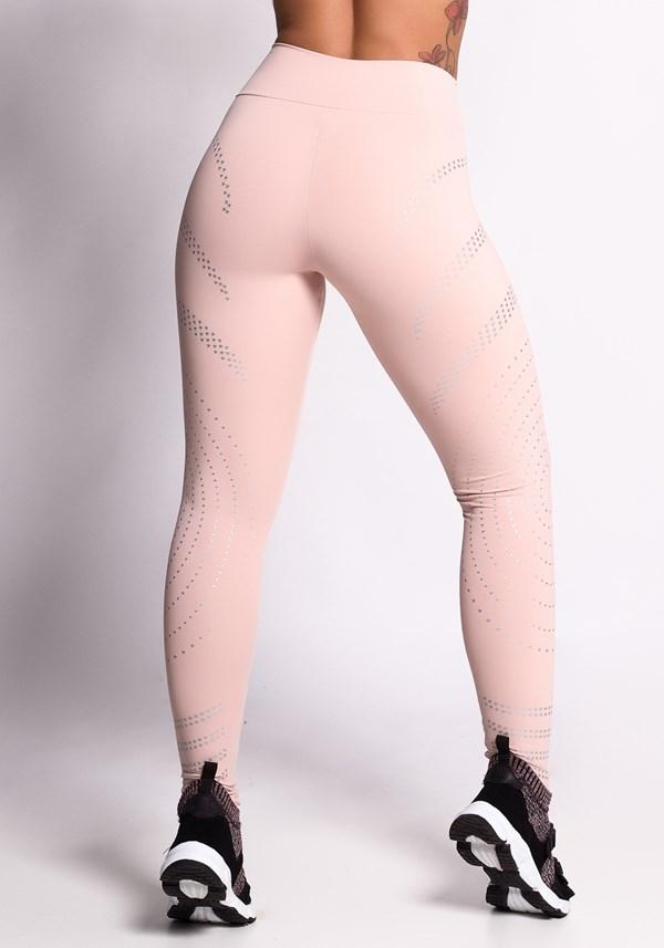 Calça legging nude com silk prata