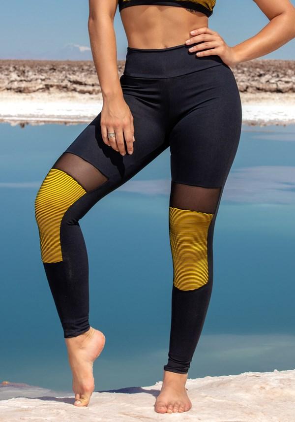 Calça legging poliamida 3d amarelo e tule