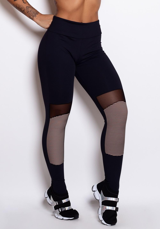 Calça legging poliamida 3d nude com tule