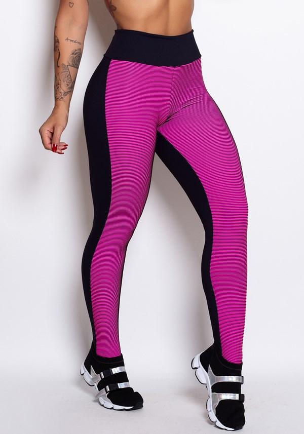 Calça legging poliamida 3d pink e preto