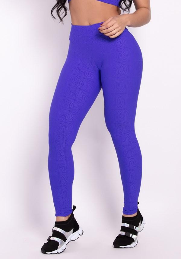 Calça legging poliamida alto relevo azul trend