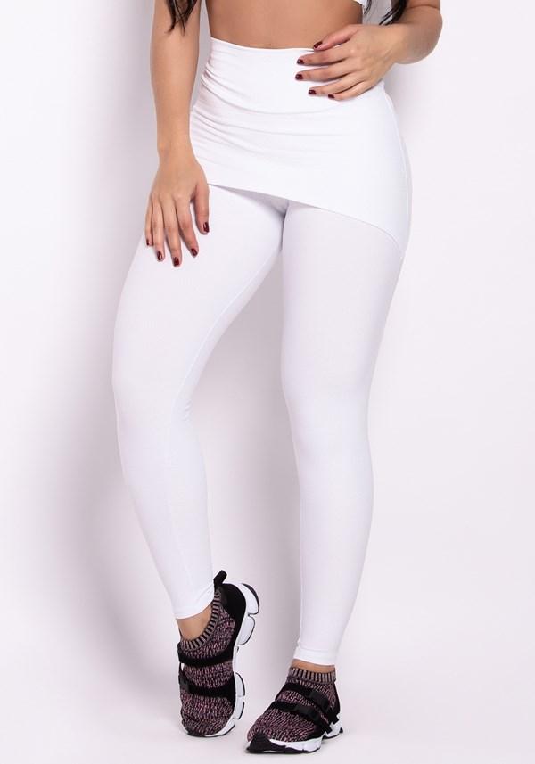 Calça legging poliamida alto relevo com tapa bumbum branca arrows
