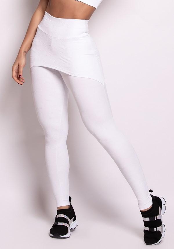 Calça legging poliamida alto relevo com tapa bumbum branca curves