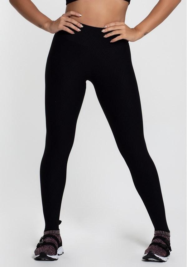 Calça legging poliamida alto relevo linhas pretas