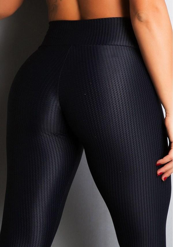 Calça legging poliamida alto relevo preta