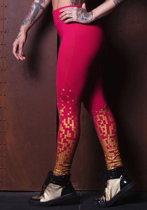 Calça legging poliamida amorinha com dourado