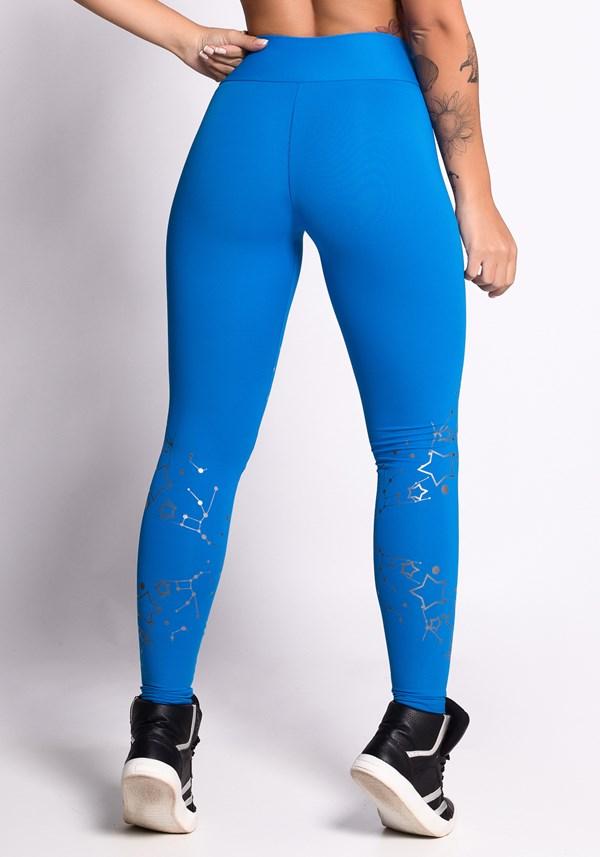 Calça legging poliamida azul com silk prata