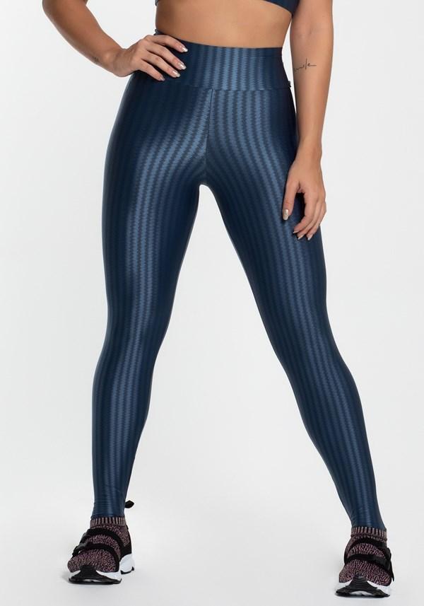 Calça legging poliamida azul luxe