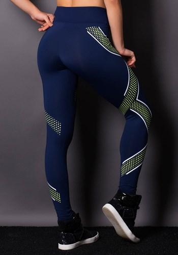 Calça legging poliamida azul marinho com detalhes em silk