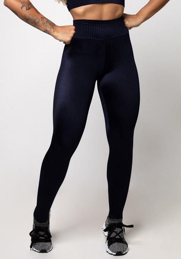 Calça legging poliamida azul marinho luxe frequency