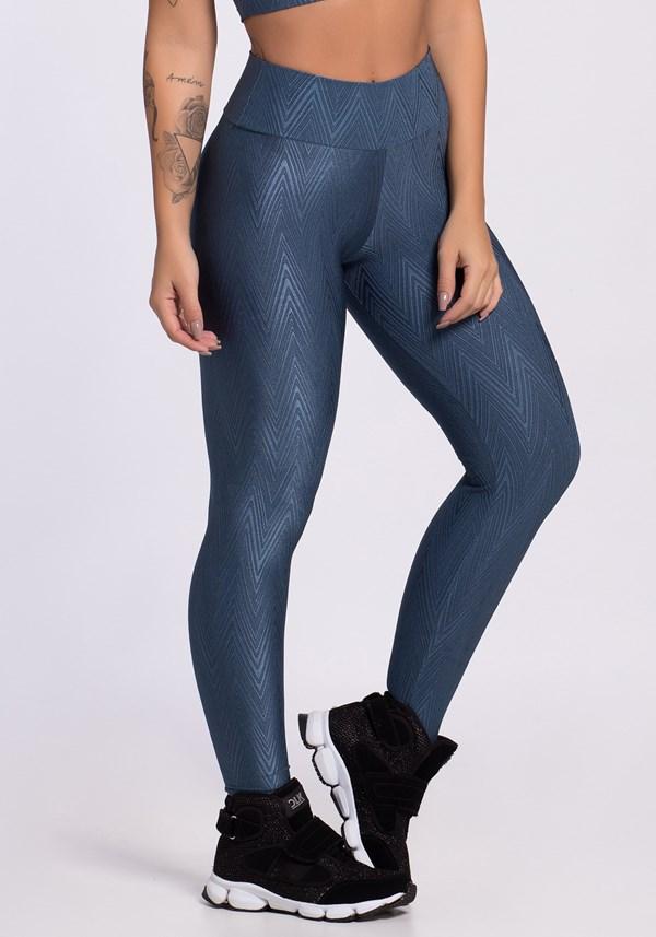 Calça legging poliamida azul shine lines