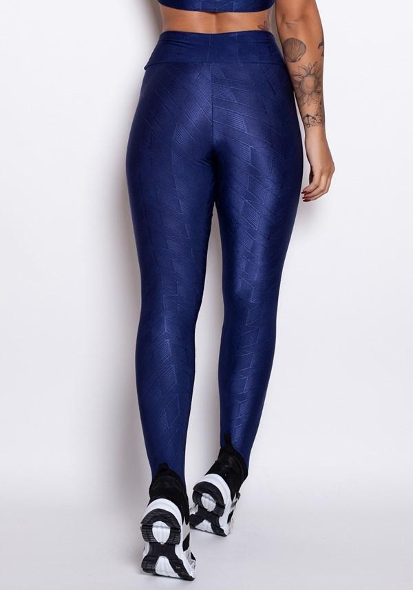 Calça legging poliamida azul stripes luxe