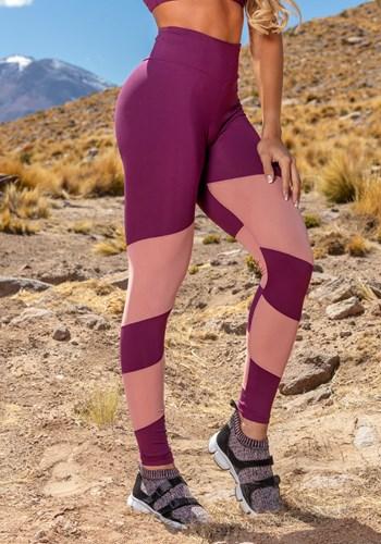 Calça legging poliamida bordô com detalhes em tule rosê