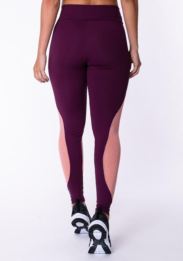 Calça legging poliamida bordô com tela rosê
