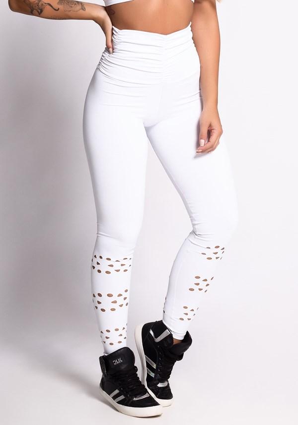 Calça legging poliamida branca cintura alta e cortes a laser