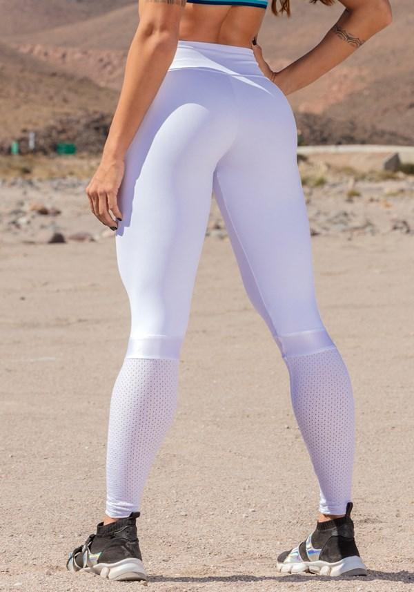 Calça legging poliamida branca com cirrê e tela