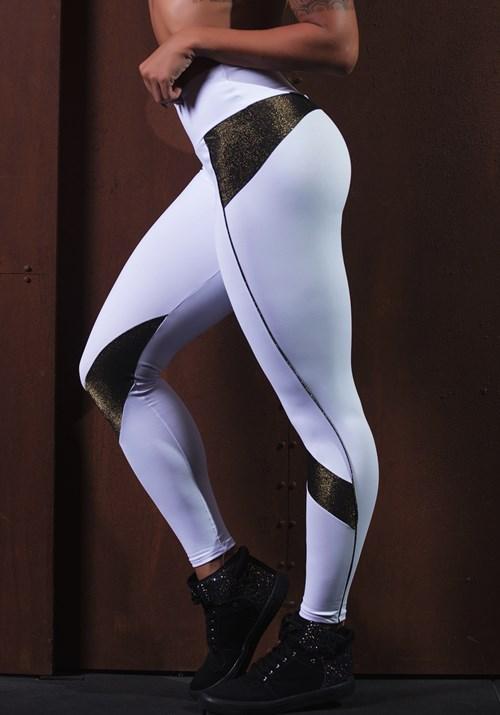 Calça legging poliamida branca com detalhes em brilho dourado