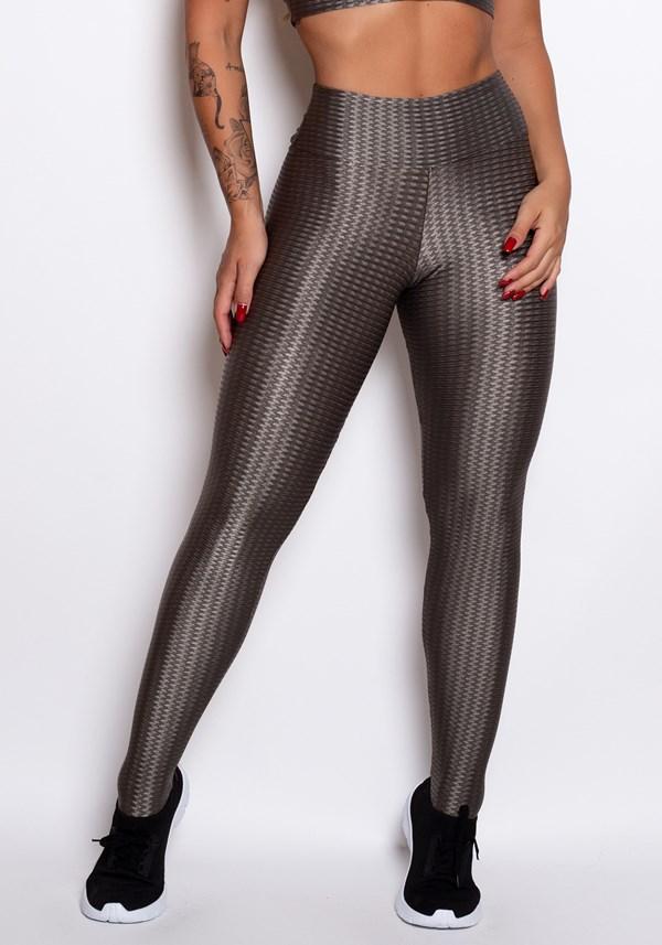 Calça legging poliamida cinza escura luxe shine