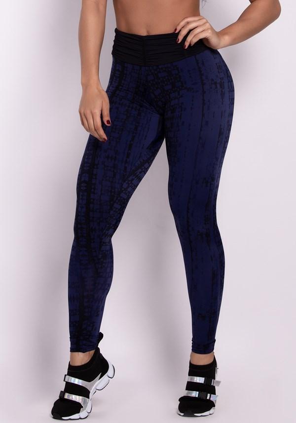 Calça legging poliamida com cós franzido black lines